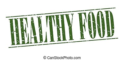 healthy food green grunge vintage stamp isolated on white background