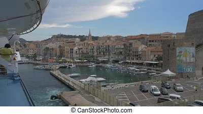 Ferry is leaving Calvi, Corsica - 4K, Calvi View, Ferry is...