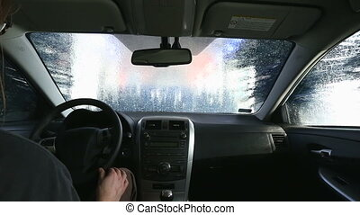 Car Wash - Car wash process viewed from inside