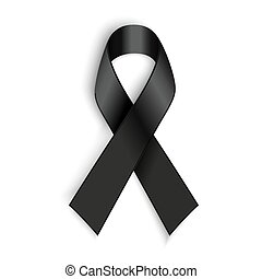 Black awareness ribbon on white background. Mourning and...