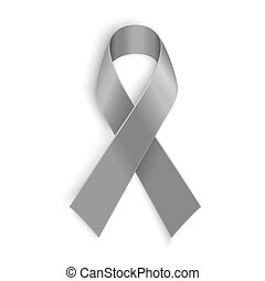 Grey ribbon symbol of borderline personality disorder,...