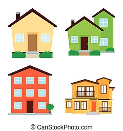 Isolated Buildings - abstract isolated buildings on a white...