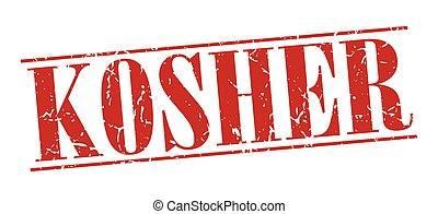 kosher red grunge vintage stamp isolated on white background