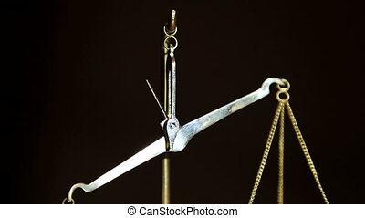 Man Putting Weight on Weight Balance Scales - Close-up shot...