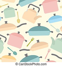 Kitchen utensils seamless pattern. Background of colored glassware. Forks and spoons, pots and pans. Vector illustration
