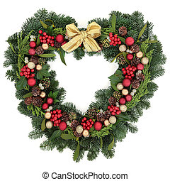 Christmas Wreath Decoration - Christmas heart shaped wreath...