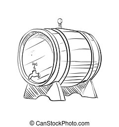 doodle barrel isolated on the white background, excellent...