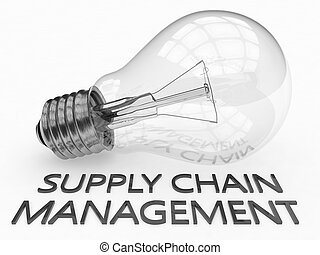 Supply Chain Management - lightbulb on white background with...