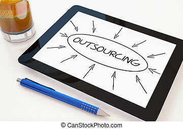 Outsourcing - text concept on a mobile tablet computer on a...