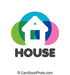 vector logo house on a background of colorful circles