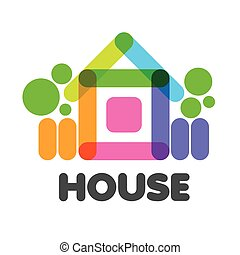 vector logo multicolored rural house