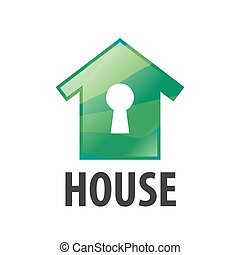 vector logo green house and keyhole