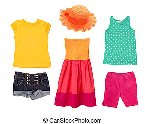 Bright summer fashion kid girl clothing.