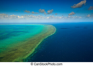 Aerial view of Arlington Reef at Great Barrier Reef Marine...