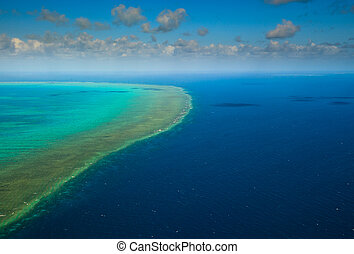 Sunny Aerial View of Arlington Reef in Great Barrier Reef...