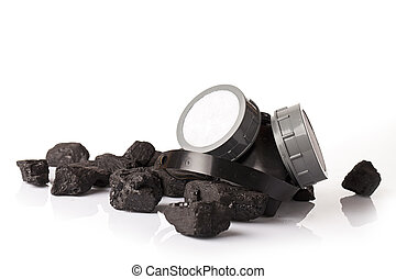 Pile of coal isolated on white back