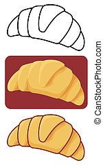 Croissant vector - Croissant icon in three versions