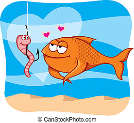 Fish and bait in love vector - Cartoon illustration of fish...