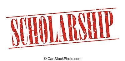 scholarship red grunge vintage stamp isolated on white...