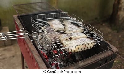 Cooking fish on the coals