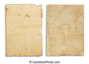 Old brown note paper isolated on white background