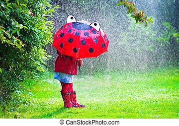 わずかしか, 傘, 女の子, 雨, 遊び
