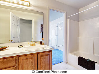 simple bathroom with full bath shower - Simple bathroom with...