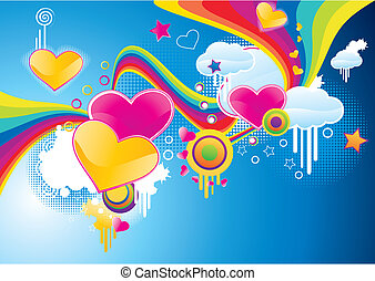 Funky styled valentine background with rainbows and hearts,...