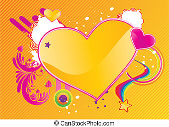 Valentines abstract background with heart shape and floral...
