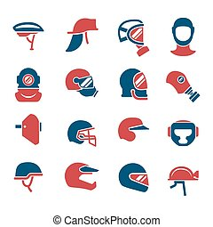 Set color icons of helmets and masks isolated on white