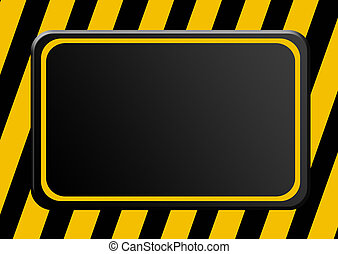 Advertisement - Black board over lines background. Cauttion...