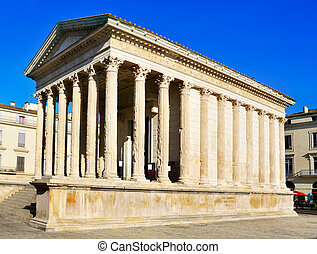 ancient roman Maison Carree in Nimes, France - a lateral...
