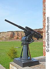 45-mm semi-automatic universal gun 21-K in Oreshek fortress...