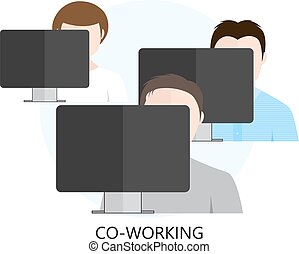 Co-working Icon with Three Workplaces