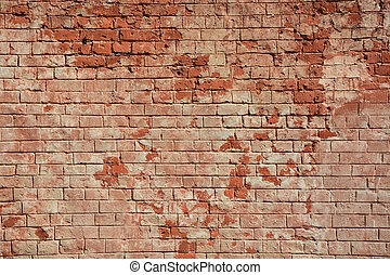 Ancient red brick wall as a background