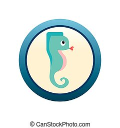 Sea Horse - an isolated blue label with a beautiful sea...