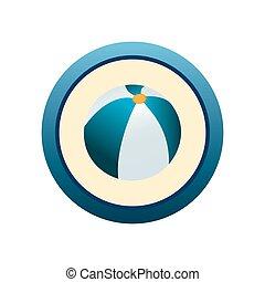 Beach Ball - an isolated blue label with a beach ball
