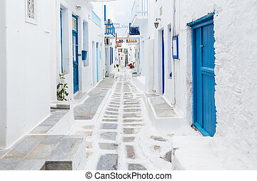 Mykonos streetview, Greece - Mykonos white painted...