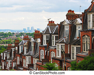 Panorama of London from Muswell Hill with brick houses and...