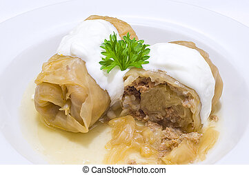Stuffed cabbage rolls - Cabbage stuffed with meat, ornated...
