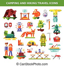 Modern flat design illustration of camping and hiking travel info graphic elements, icons