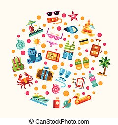 Set of flat design seaside travel vacation icons and...