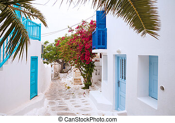 Streetview, palm leaves, Mykonos - Streetview of Mykonos...