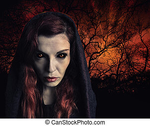 Witch - Portrait of a witch with scary eyes