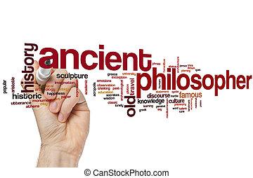 antiguo, palabra, filósofo, nube