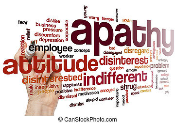 Apathy word cloud concept with indifferent disinterest...