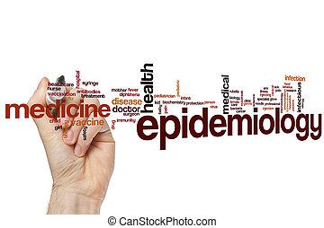 epidemiología, palabra, nube,