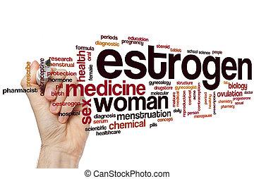 estrógeno, palabra, nube,