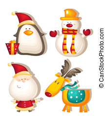 santa claus snowman rudolf penguin vector illustration