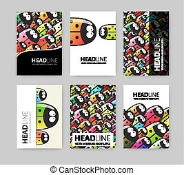 Set of six brochures - Vector Illustration with Colorful...